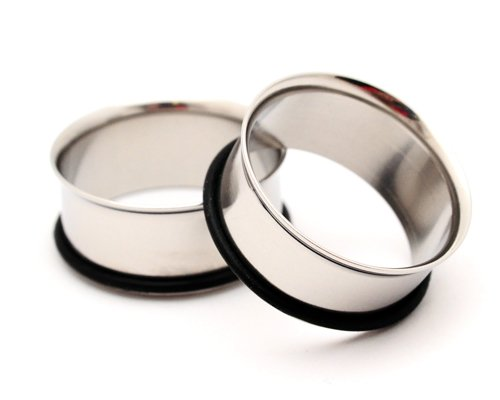 """Steel Single Flare Tunnels - 1 1/8"""" - 28Mm - Sold As A Pair"""