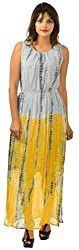JHALANI EXPORTS Women's A-Line Dress (JE13, Grey and Yellow, Small)