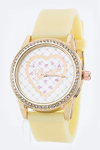 Chic Chelsea Heart Crystal Jelly Watch (Cream)