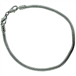 8.3 Inches Silver Plated Snake Chain Bracelet - Pandora Charm Bead Compatible