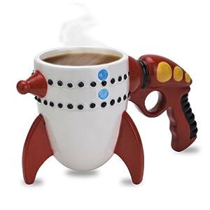 Big Mouth Toys Ceramic Retro Ray Gun Rocket Mug, Red