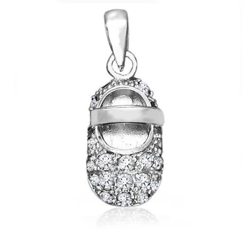 Bling Jewelry Baby Shoe Charm Pendant June Birthstone Moonstone CZ