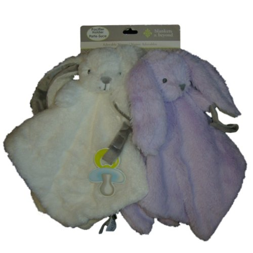 Baby Girl Set Of Security Blankets White And Purple Bunnies