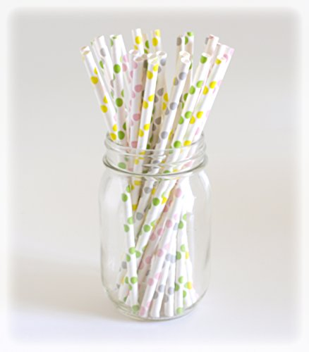 Polka Dot Straws, Paper Drinking Straws, Compostable Straws, Biodegradable Straws, 25 Pack - Pastel Polka Dot back-904976