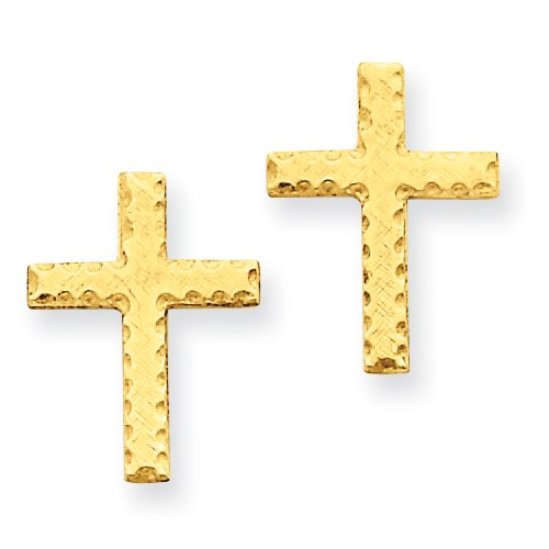 14k Brushed Finish Cross Earrings