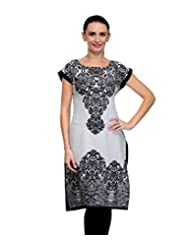 Hickii Women's White & Black Poly Crepe Printed Kurti