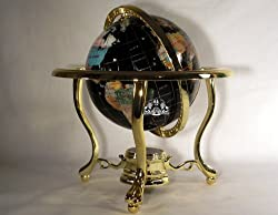 """10"""" 3-leg Black Onyx Ocean Table Top Gemstone Globe with Gold Stand"""