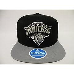 Adidas Authentic NBA New York Knicks Logo Brim 2 Tone Black Gray Retro Snapback Cap by adidas
