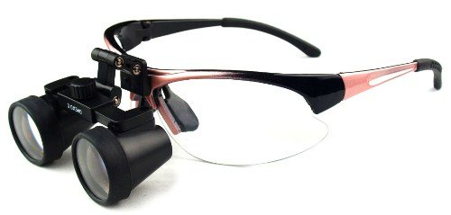 "Featured On ""Bones"" -- Dental Surgical Medical Binocular Loupes -- 2.5X550Mm Working Distance -- Flip Up Pink Sports Frame"