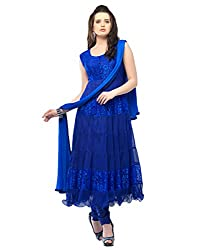 Aaryan Women's Semi-Stitched Anarkali Dress Material (KH-Blue01_Blue_Free Size)