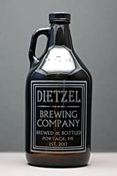 Personalized Engraved Old School Brewing Growler | Custom Father Day Gift