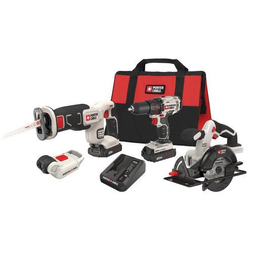 Factory-Reconditioned-Porter-Cable-PCCK616L4R-20V-Max-Cordless-Lithium-Ion-4-Tool-Combo-Kit