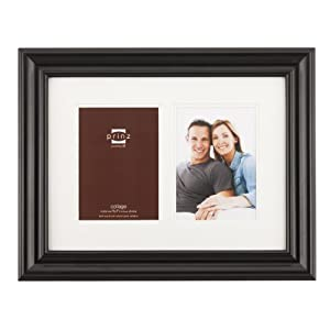 Prinz Double Mat Brighton 2-Opening Collage Wood Photo Frame, 5 by 7-Inch, Black
