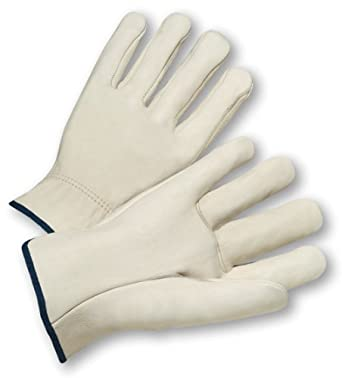 West Chester 990-B Leather Glove, Shirred Elastic Wrist Cuff
