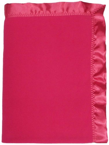 Raindrops Fleece Girl Crib Blanket, Raspberry