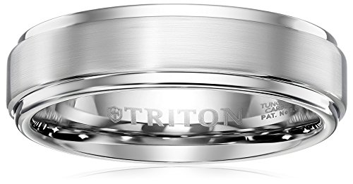 Triton Men's Grey Tungsten 6mm Step Edge Comfort Fit Band, Size 8 (Triton Tungsten Rings For Men compare prices)