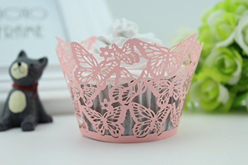 Finex® 100pcs *Butterfly* Wedding Cupcake Liner Wrappers Muffin Wrapper Paper Baking Party Decoration (Pink)