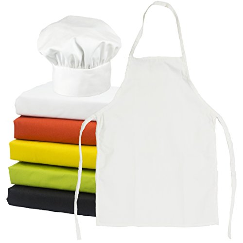 ObviousChef Kids - Child's Chef Hat Apron Set, Kid's Size, Children's Kitchen Cooking and Baking Wear Kit for those Chefs in Training, Size (M 6-12 Year, White) (Chef Apron Hat Kids compare prices)