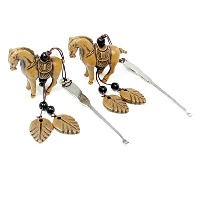 Removable Brown Horse Hanging Ornament Steel Ear Wax Removal 2 Pcs