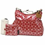 Chic Babymel Big Slouchy Changing Bag in Twisted Red - Cleva Edition ChildSAFE Door Stopz Bundle