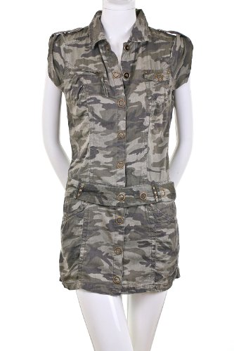 Amazing Green Camo Camouflage Belted Shirt Dress