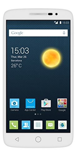 Alcatel Onetouch Pop 2 Smartphone (Dual SIM, 12,7 cm (5 Zoll), FWVGA Display, 480 x 854 Pixel, Android 4.4, Quad Core, 1,2GHz, 8GB), pure weiß