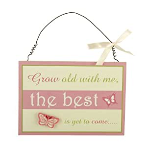 "Shabby Chic Style Hanging Wall Art Plaque With The Verse ""Grow old with me, the best is yet to come"" Ideal Anniversary Gift Idea"