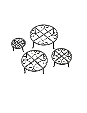 Red Carpet Studios Set of Four Round Black Iron Plant Stands
