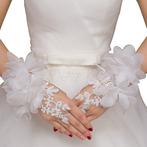 JoyVany Floral Short Lace Applique Wedding Gloves Beaded Fingerless Bridal Glove White
