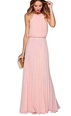 Zonars Women's Halter Pleated Long Dress Small, Pink