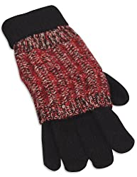 Private Label - Ladies Knit Gloves, Black, Red 28485-onesize
