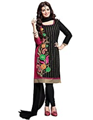 Ethnic For You Black And Rani Pink Cotton Top Embroidered Work With Border Unstiched Dress Material