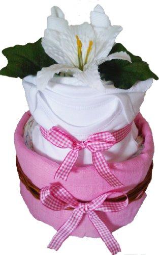 2 Tier Mini Pink Baby Girl Nappy Cake Hamper
