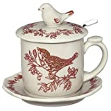 Red Bird Toile Covered Mug