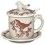 Red Bird Toile Covered Mug