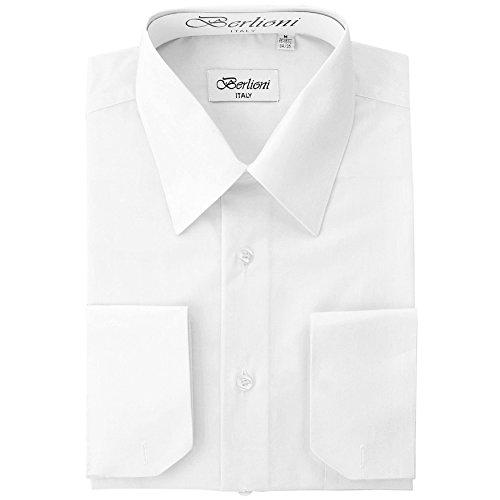 Men's Dress Shirt - Convertible French Cuffs - White, Small, 32/33 Sleeve (Seeking Men)