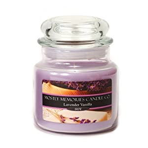 Mostly Memories Lavender Vanilla 16-Ounce Lid Lites Soy Candle