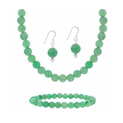 Sterling Silver 6mm Genuine Aventurine Stone Bead Beaded Dangle Hook Earrings Stretch Bracelet Necklace 15-19