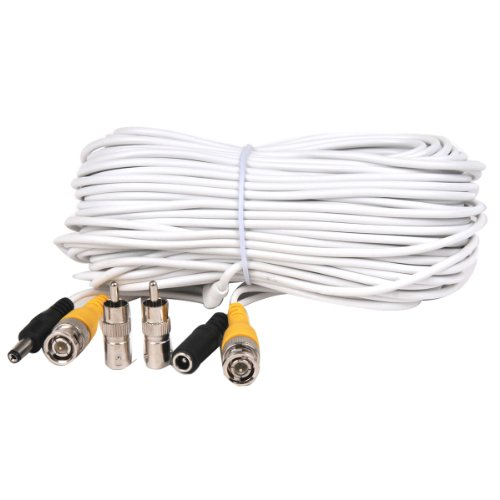 VideoSecu 100 Feet Video Power BNC RCA White