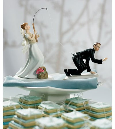Fishing Groom Comical Wedding Cake Topper