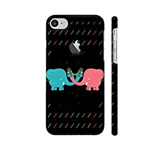 Colorpur Cartoon Elephants With Colorful Heart Designer Mobile Phone Case Back Cover For Apple iPhone 7 with hole for logo   Artist: Designer Chennai
