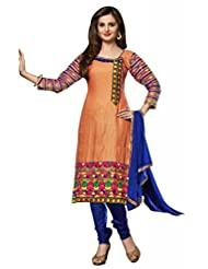 Peach Cotton Resham With Patch Patti Dress Material