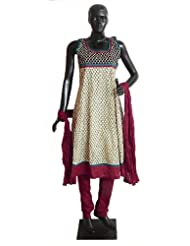 Printed Cotton Kurta With Red Border, Maroon Churidar, Chunni And A Pair Of Unstitched Sleeves - Cotton