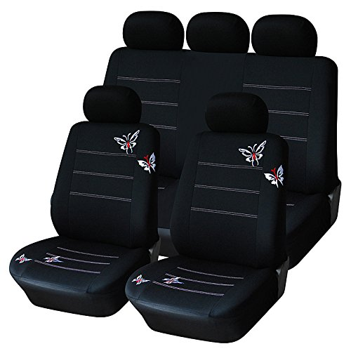 AUTOYOUTH Full Set Car Seat Covers for Truck, SUV Butterfly Embroidery, Split Rear Bench, Polyester Cloth Universal Fit Car Accessories - 9PCS, Black (Car Girl Seat Covers compare prices)