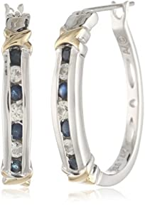 S&G Sterling Silver and 14k Gold Blue and White Sapphire Earrings