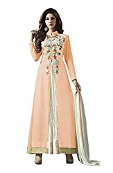 VIHA Peach Women's Embroidered Georgette Unstitched Dress Material