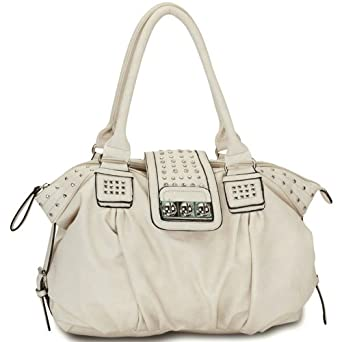MG Collection Metal Studded Beige Soft Leatherette Shopper Hobo Shoulder Bag