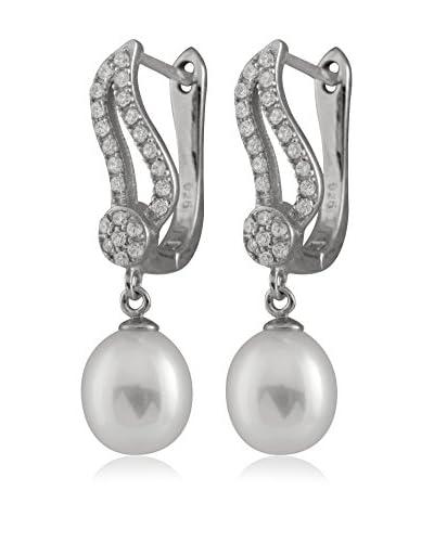 Splendid 7-8mm White Freshwater Pearl CZ Earrings