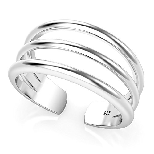 Sterling Silver 3 Row Adjustable Toe Band Ring (Toe Rings And Anklets compare prices)