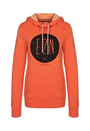 Eight2Nine Damen Sweat Hoodie Kapuze mit Öhrchen Moustache Label Print orange XL
